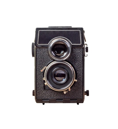 old camera Isolated on white background, vintage style. old camera with two lenses.