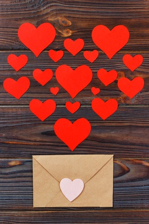 A lot of letters with love. Lover's holiday confession or proposal concept. Valentine day love letter. Stock Photo