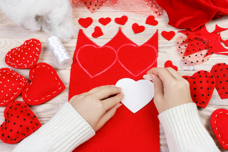 Handmade Valentines Day heart of textiles. Handmade decoration for the holiday. 版權商用圖片