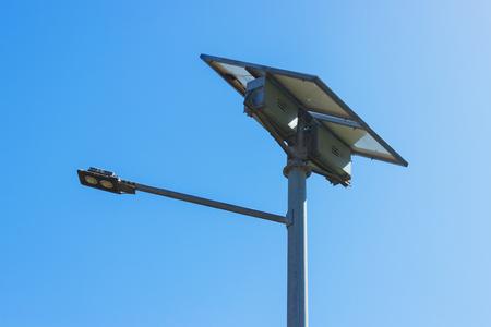 street light with solar panel. LED lamp renewable energy.