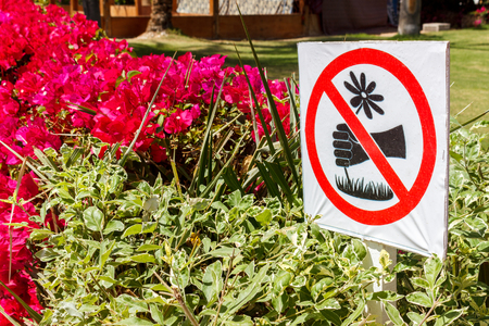 Signs in the park. does not pick flowers.