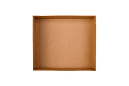 Opened brown blank cardboard box isolated on white background, top view.