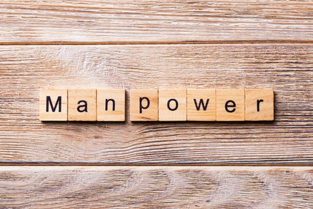 Man Power word written on wood block. Man Power text on wooden table for your desing, concept. Stock Photo