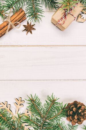 Christmas background with copy space, top view. holiday concept for you design on wooden table. Toned.