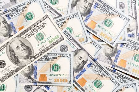 Background with money american hundred dollar bills, horizontal. Top view of business concept on background with copy space.