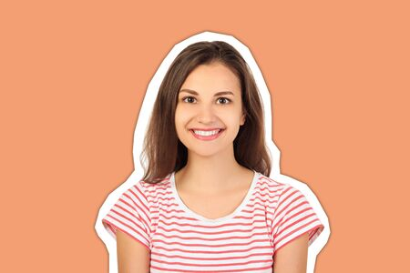 happy young beautiful girl looking at camera and smiling. emotional girl Magazine collage style with trendy color background.