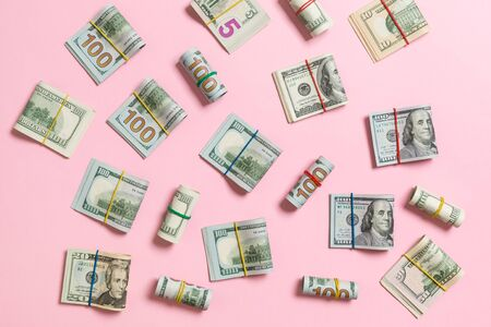 colored Background with money american hundred dollar bills on top wiev with copy space for your text in business concept.