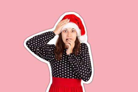 Frustrated female feels anxious and surprised and bites fingernails in puzzlement. Magazine collage style with trendy color background. holiday concept.