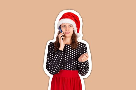 Closeup portrait, depressed, sad and worried young woman talking on phone. Magazine collage style with trendy color background. holiday concept.