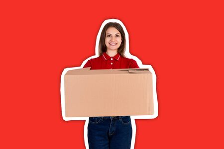 Smiling delivery person is giving a parcel to a customer Magazine collage style with trendy color background. 스톡 콘텐츠