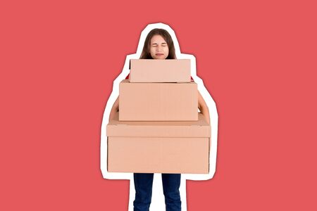 Tired delivery woman is holding a stack of heavy cardboard boxes. Pretty girl is exhausted after hard day Magazine collage style with trendy color background.