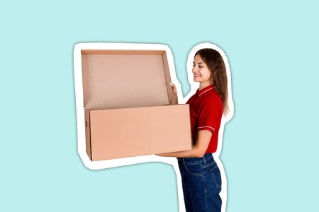 Smiling delivery woman is looking into open cardboard box, post delivery concept , Magazine collage style with trendy color background.