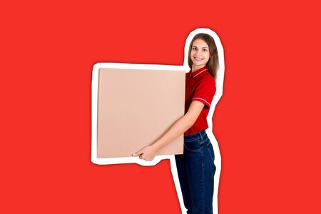 Beautiful girl is delivering a huge parcel to a customer. Smiling woman in work clothes is holding a box Magazine collage style with trendy color background. 스톡 콘텐츠