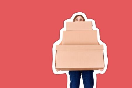 Portrait of a young delivery woman looking behind boxes and holding parcel Magazine collage style with trendy color background.