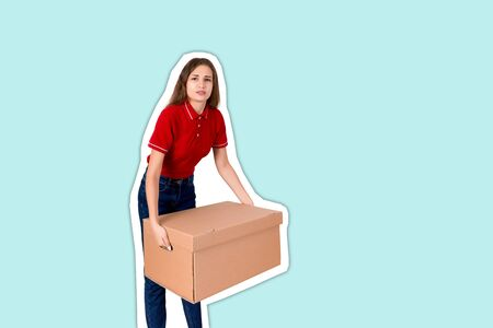 Tired delivery girl is holing a heavy parcel carton box Magazine collage style with trendy color background. Stock Photo