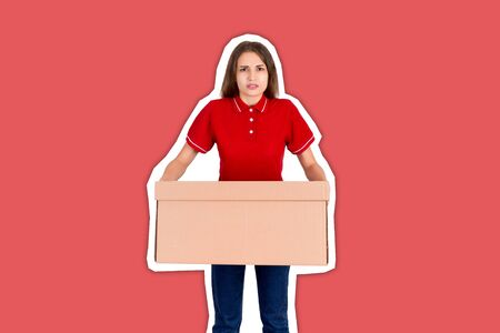 Tired delivery girl is holing a heavy parcel carton box Magazine collage style with trendy color background. Reklamní fotografie