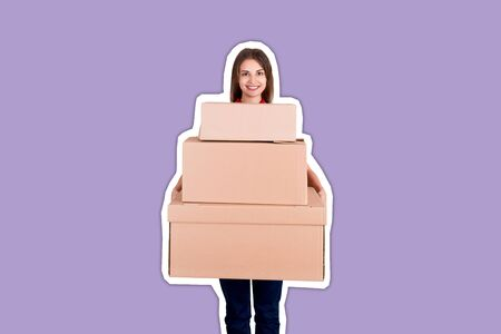 Smiling businesswoman is holding a lot of big cardboard boxes Magazine collage style with trendy color background.