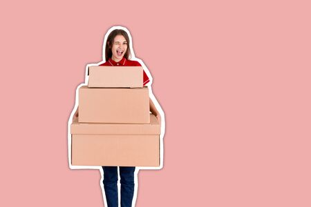Portrait of a happy smiling delivery woman with heap of big boxes Magazine collage style with trendy color background.