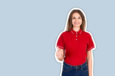 A portrait of pretty smiling delivery girl showing thumb up Magazine collage style with trendy color background.