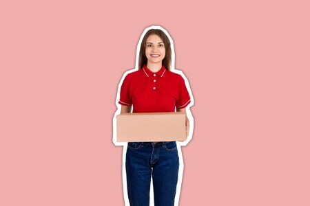 Attractive happy smiling delivery woman is holding a cardboard box Magazine collage style with trendy color background.