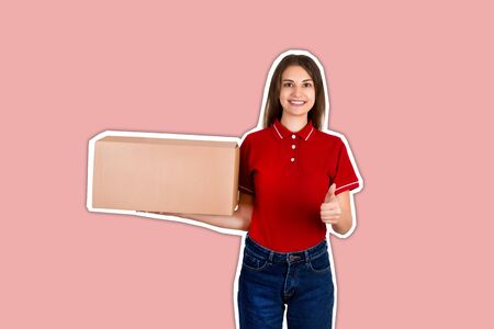 Young pretty woman is holding a parcel box pointing thumb up Magazine collage style with trendy color background.