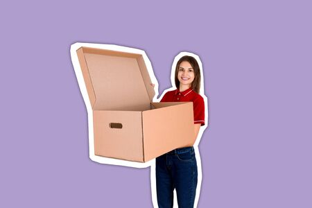 Young delivey person is holding a big opened parcel box Magazine collage style with trendy color background.