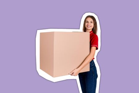 Friendly young delivey girl brings a big parcel for a customer Magazine collage style with trendy color background.
