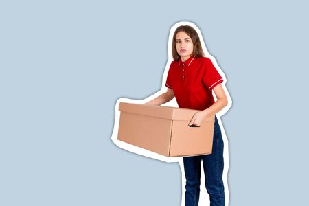 Female delivery person is tired of carrying a heavy parcel Magazine collage style with trendy color background.