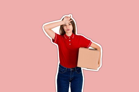 Delivery woman feels tired after delivering a heavy parcel Magazine collage style with trendy color background.