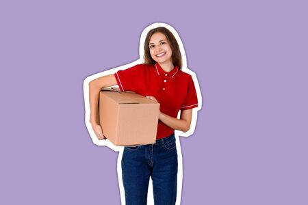 Happy young delivery girl in a red T-shirt is holding a carton parcel box under her arm Magazine collage style with trendy color background.