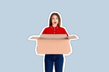 Shocked delivery girl is holding a big open parcel box Magazine collage style with trendy color background.