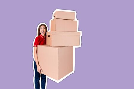 Happy young woman in red T-shirt is holding stack of big parcel boxes Magazine collage style with trendy color background.