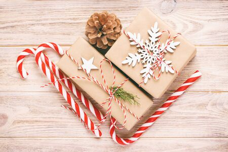 Christmas Decoration gift box with Candy Canes. Toned. Banco de Imagens