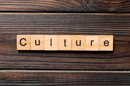 Culture word written on wood block. Culture text on wooden table for your desing, concept. Stok Fotoğraf