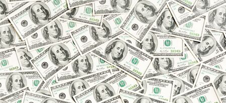 Top view of American money background. Pile of dollar cash. Paper banknotes concept. Standard-Bild