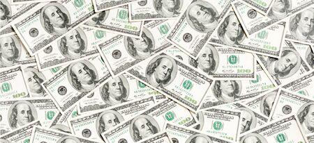 Top view of American money background. Pile of dollar cash. Paper banknotes concept. Foto de archivo