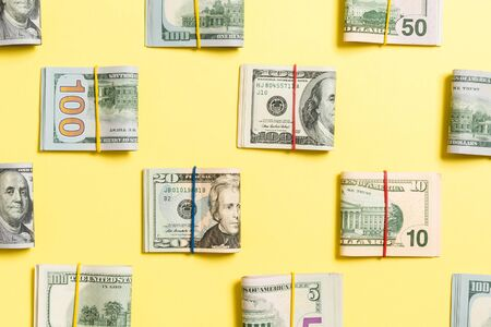 Money Background with american hundred dollar bills on top wiev with copy space for your text in business concept. Banque d'images