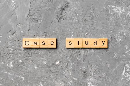 case study word written on wood block. case study text on table, concept.