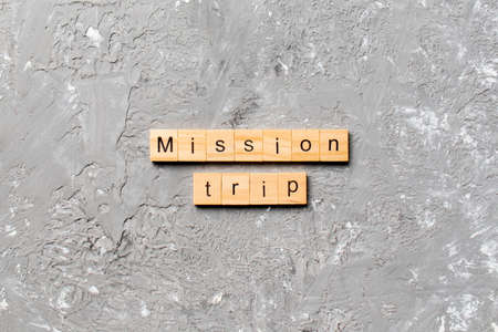 Mission Trip word written on wood block. Mission Trip text on table, concept.