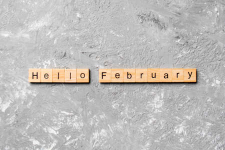 hello February word written on wood block. hello February text on table, concept.