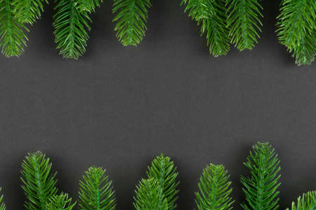 Top view of colorful background made of green fir tree branches. New year holiday concept with copy space. Stock fotó - 155445510