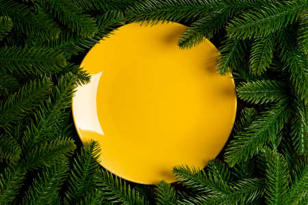 Top view holiday plate among green fir tree branches. Christmas dinner with copy space. 免版税图像