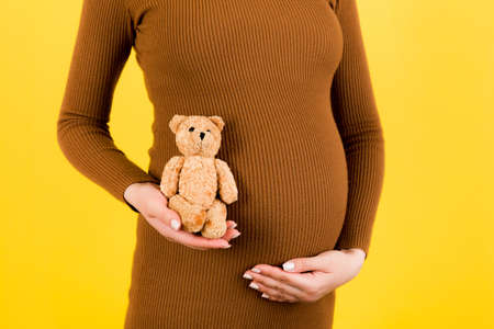 Cropped image of teddy bear in hand against pregnant woman's belly in brown dress at yellow background. Waiting for a childbirth. Copy space.