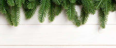 Top view Banner of fir tree on wooden background. Christmas concept with copy space. 版權商用圖片