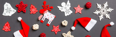 Top view Banner of New Year decorations on black background. Merry Christmas concept.