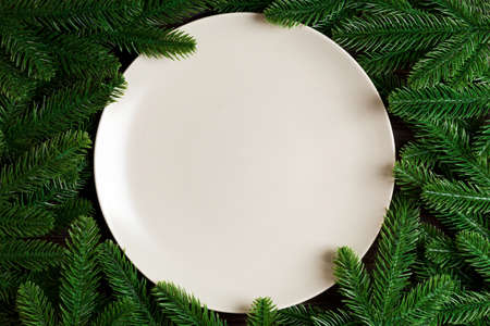 Top view of round festive plate on fir tree background. Christmas dish concept with empty space for your design.