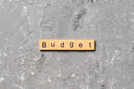 budget word written on wood block. budget text on table, concept.
