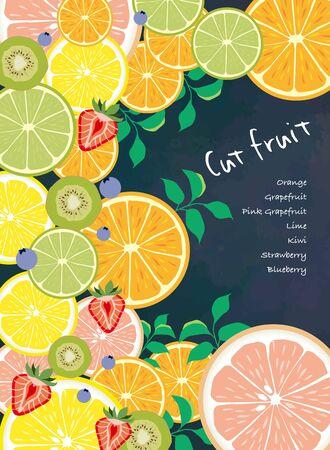 cut fruit design illustration