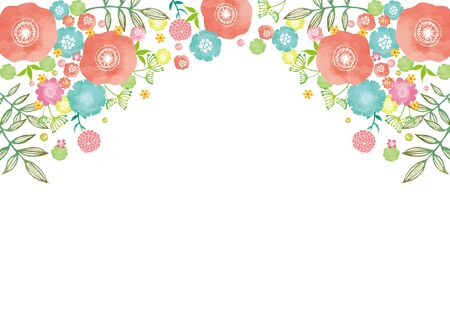 Watercolor floral material on white background Illustration