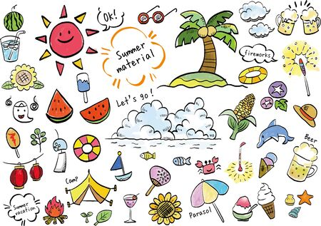 Handwritten Japanese summer icons set, watercolor style